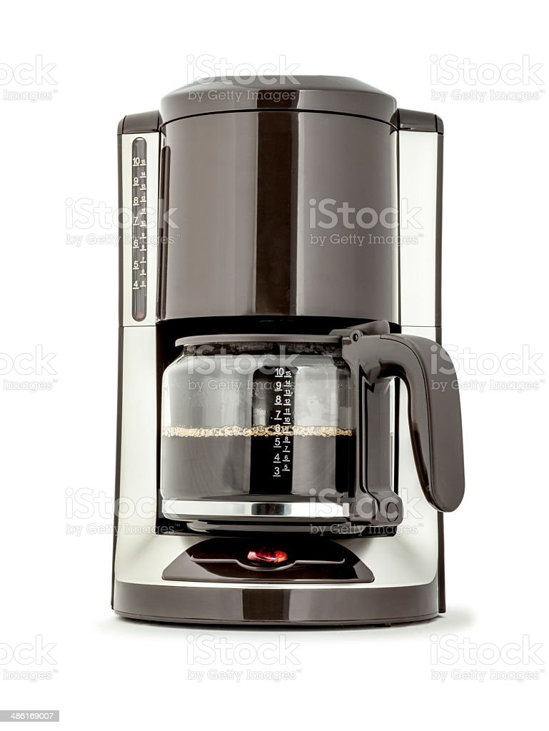 Coffee Maker with fresh brewed coffee isolated stock photo