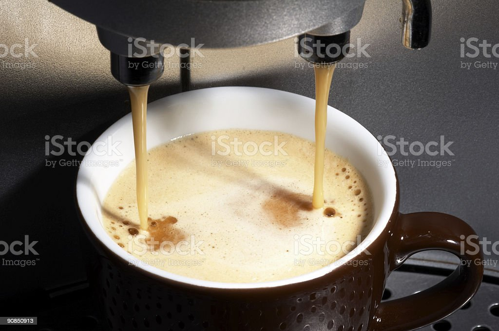 coffee maker working stock photo