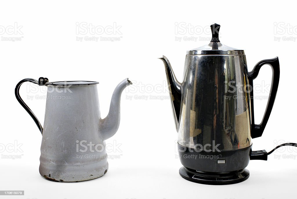 coffee makers old and new royalty-free stock photo