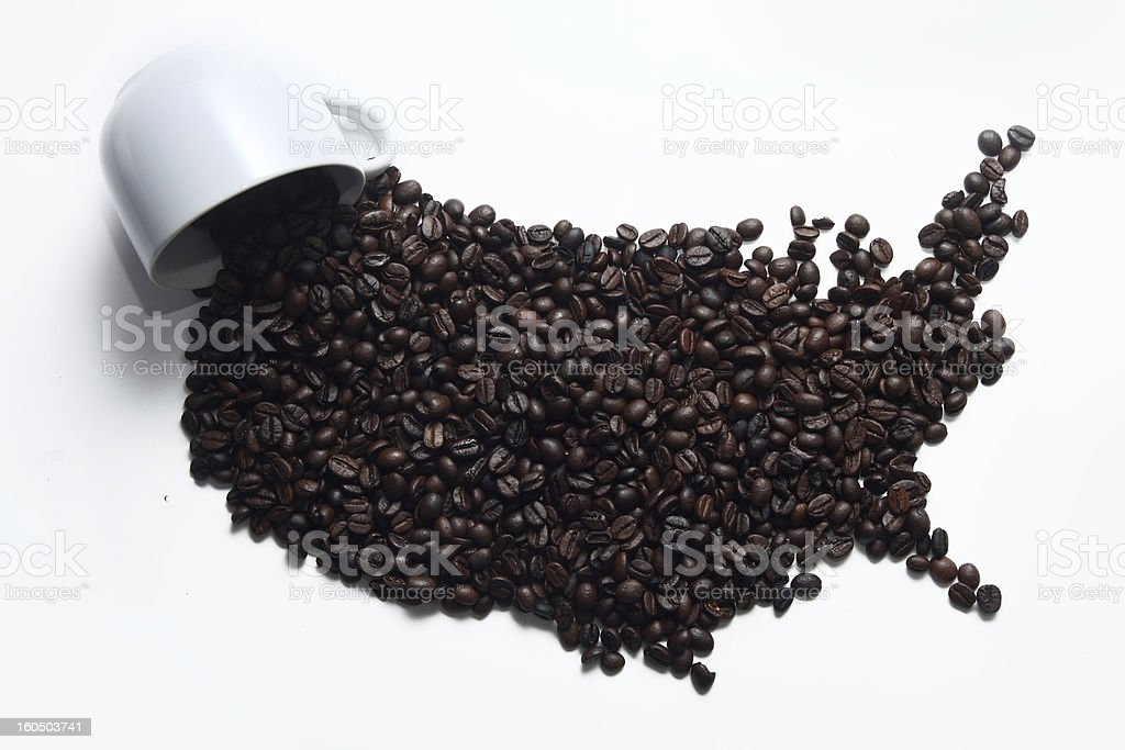 Coffee Map America royalty-free stock photo