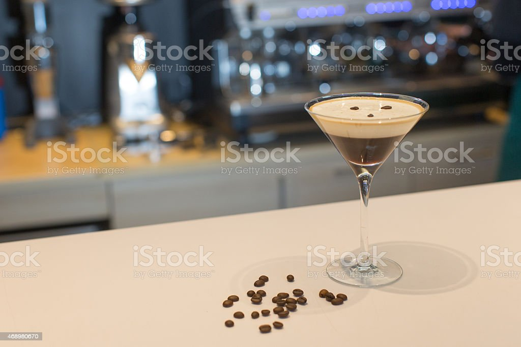 Coffee martini alcoholic cocktail mix drink stock photo