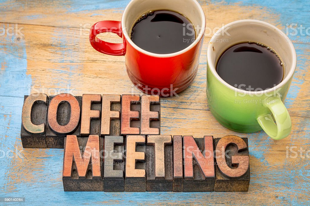 coffee meeting concept stock photo