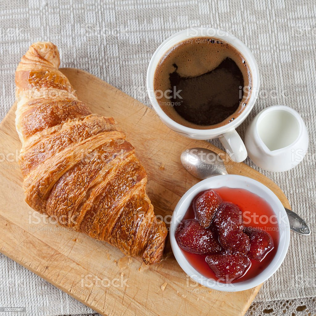 Coffee, milk and croissant. stock photo