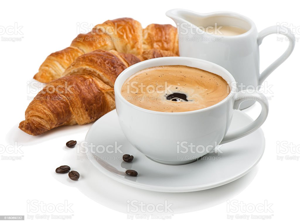 Coffee, milk and croissants. stock photo
