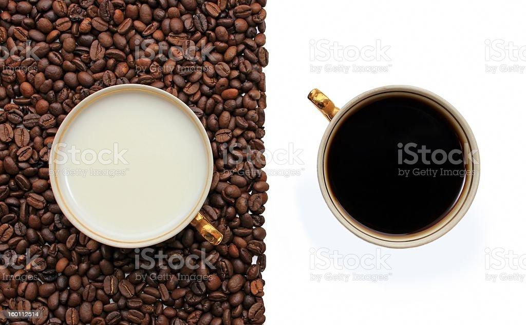 Coffee, milk on white background royalty-free stock photo