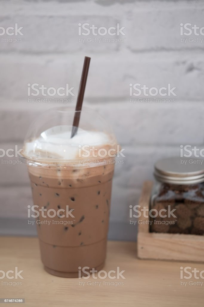 coffee mix with cocoa with ice on wood table stock photo