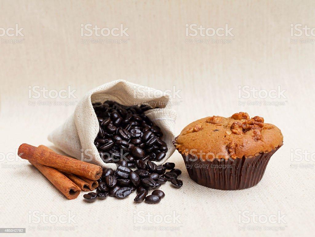 Coffee muffin and coffee bean stock photo