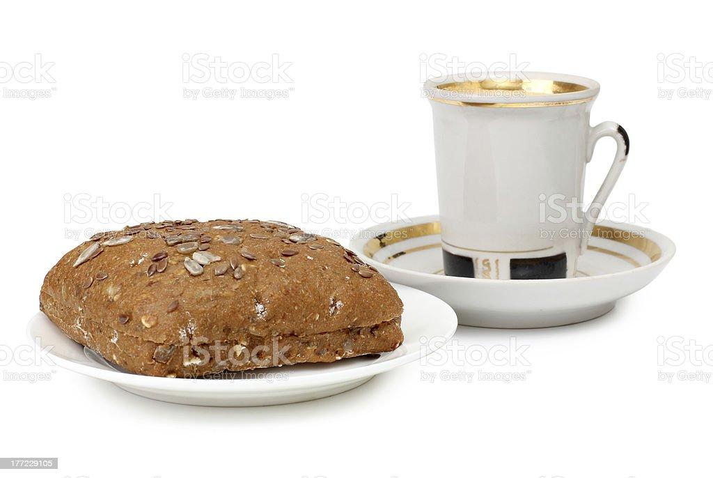 Coffee mug and bread royalty-free stock photo