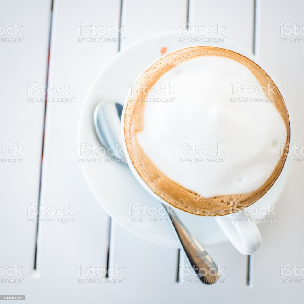 Coffee mug on wooden table. stock photo