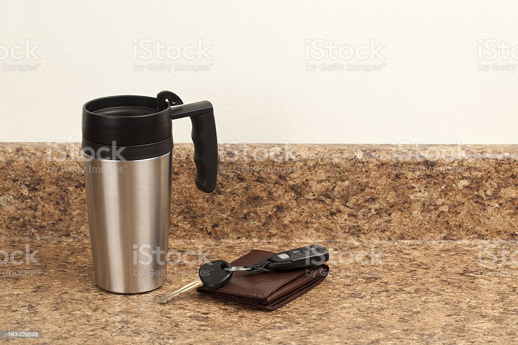 Coffee Mug, Wallet, and Keys stock photo