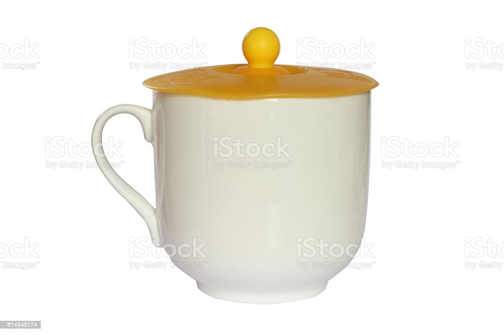 coffee mug with a lid isolated on white stock photo