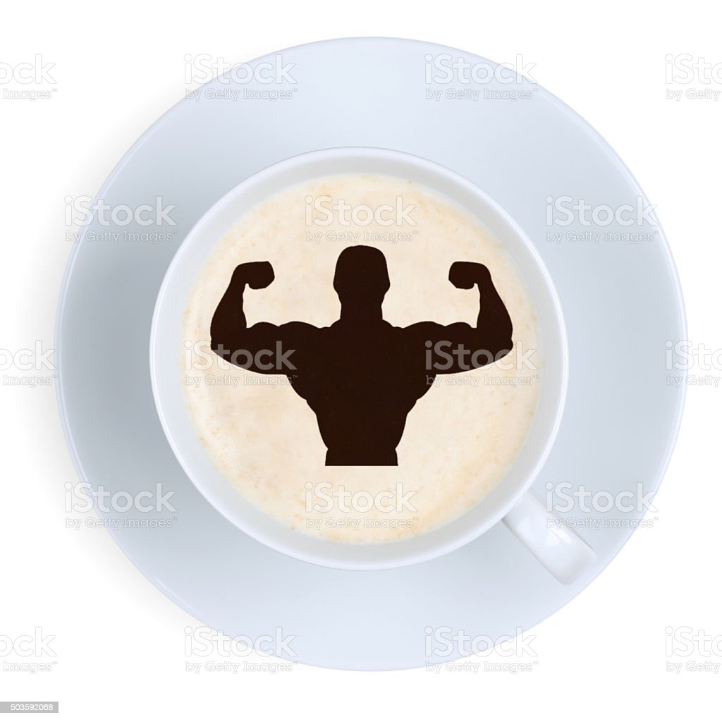 Coffee muscles fit energy power strong strength at work office stock photo
