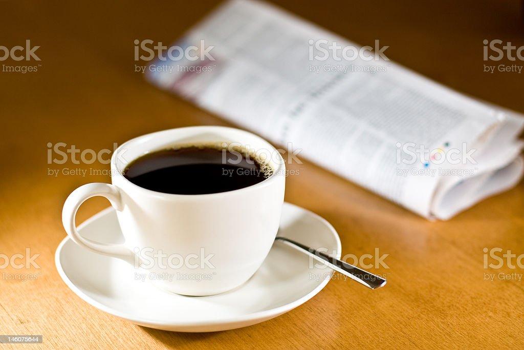 Coffee & Newspaper royalty-free stock photo
