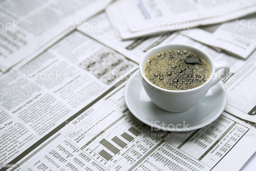 Coffee, newspaper stock photo
