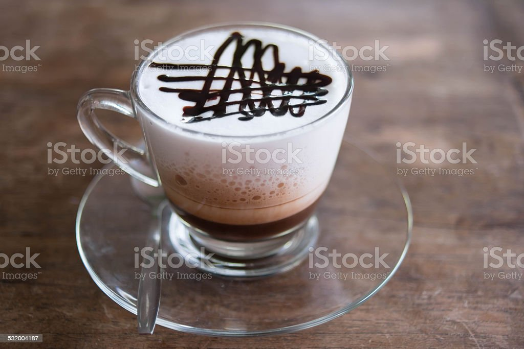 coffee on a wood table stock photo