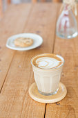 Coffee on a wooden table, latte, mocha, capuccino