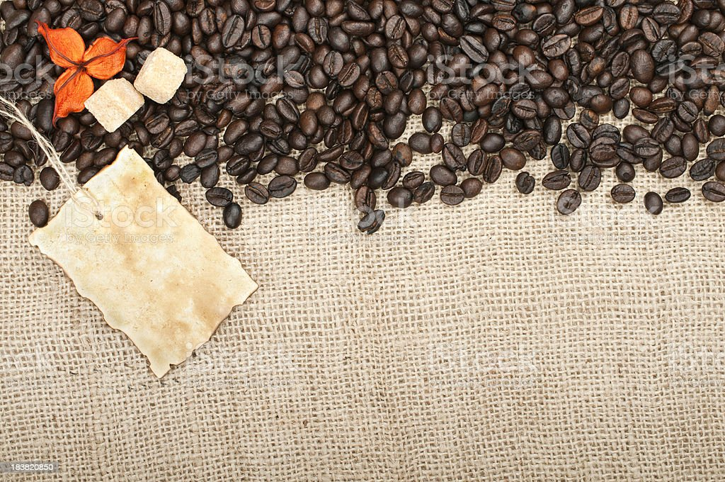 Coffee on burlap royalty-free stock photo