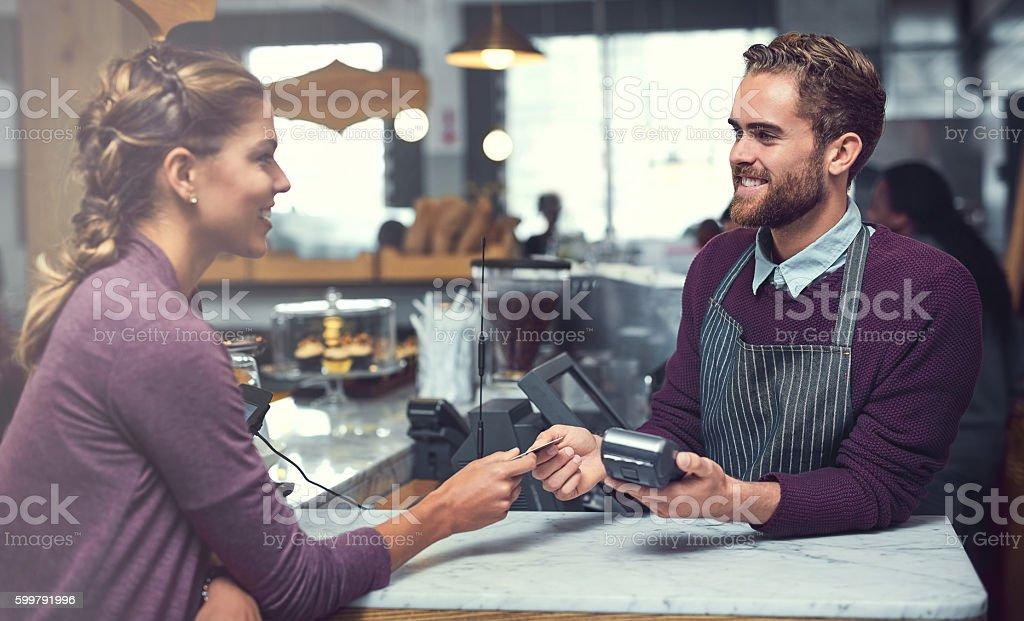 Coffee on credit stock photo