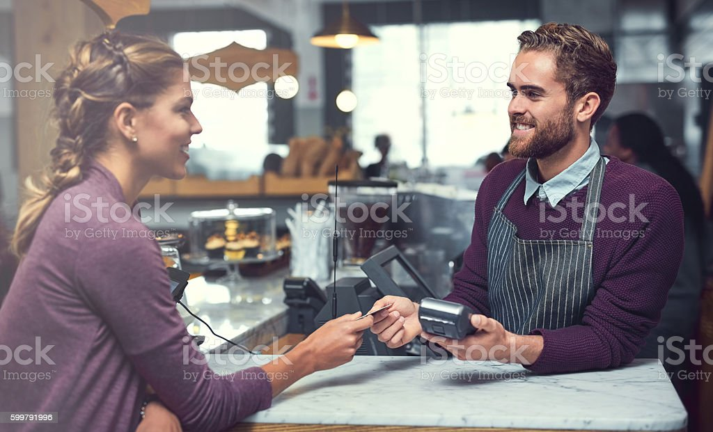 Coffee on credit stock photo