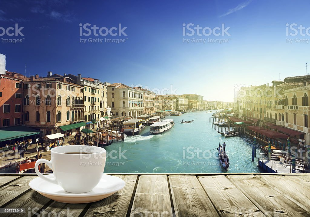 coffee on table and Venice in sunset time, Italy stock photo