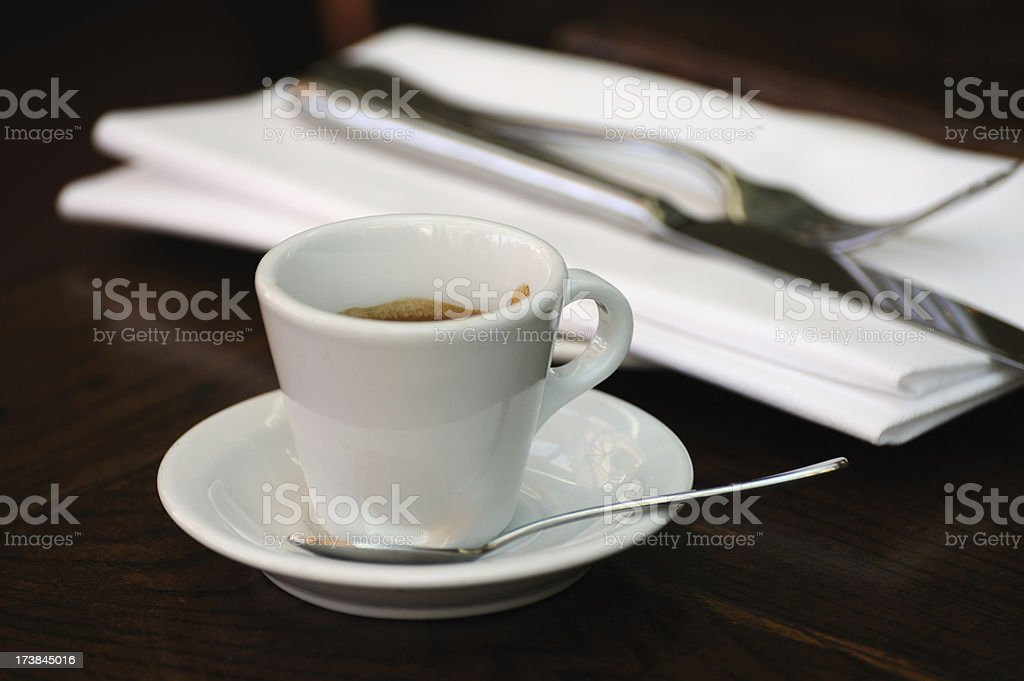Coffee on table setting royalty-free stock photo