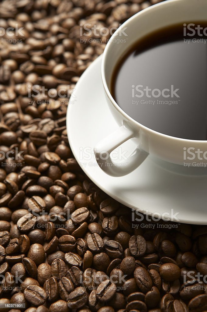 Coffee on the beans royalty-free stock photo