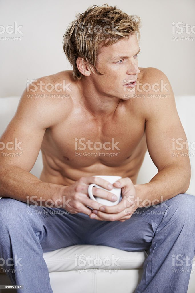 Coffee on the couch royalty-free stock photo