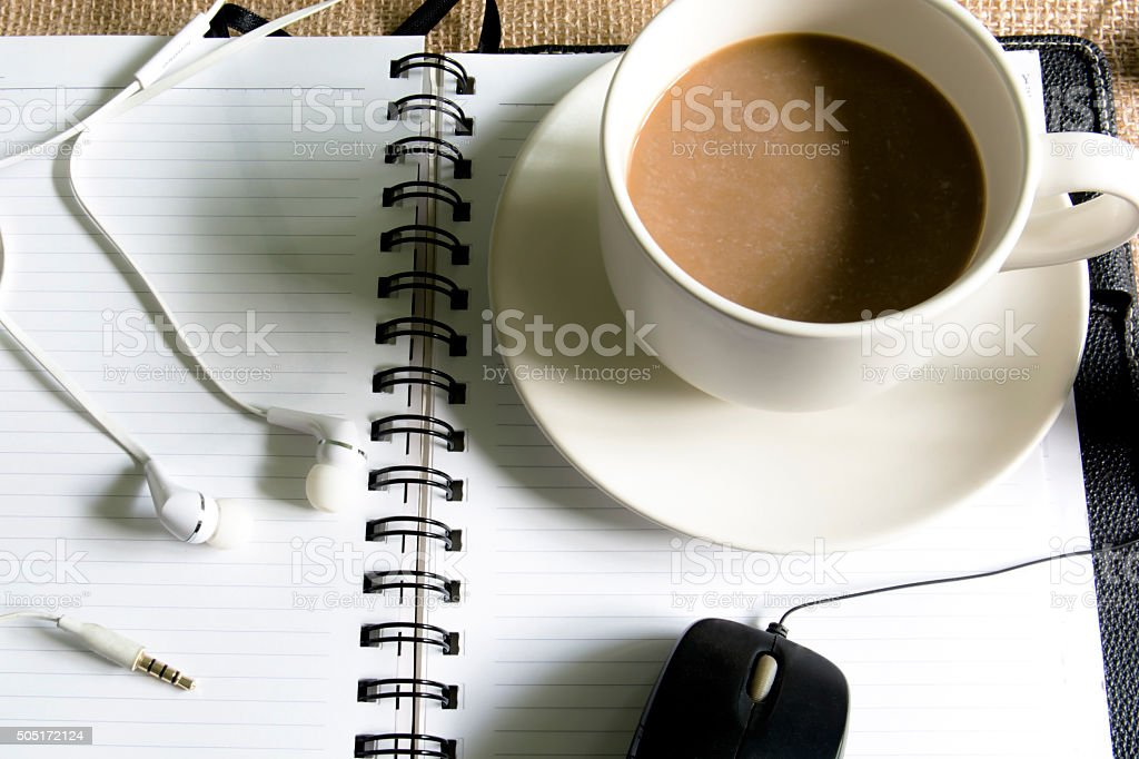 Coffee on the desk stock photo