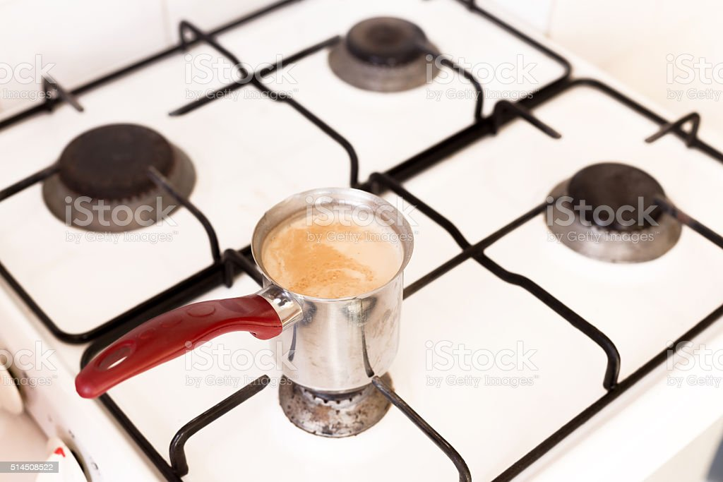 Coffee on the stove stock photo