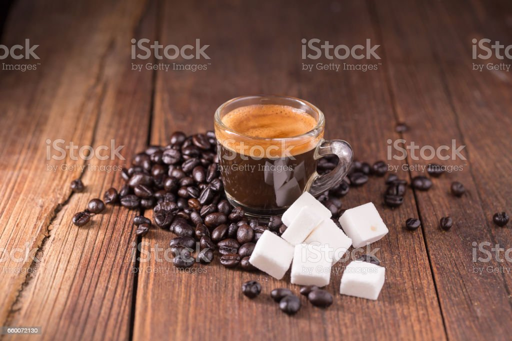 coffee on the wooden background, coffee background concept. stock photo