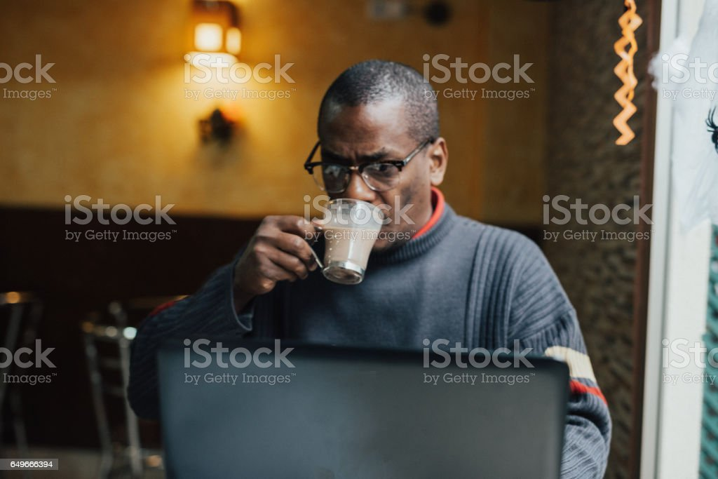 Coffee, online news, morning concept stock photo