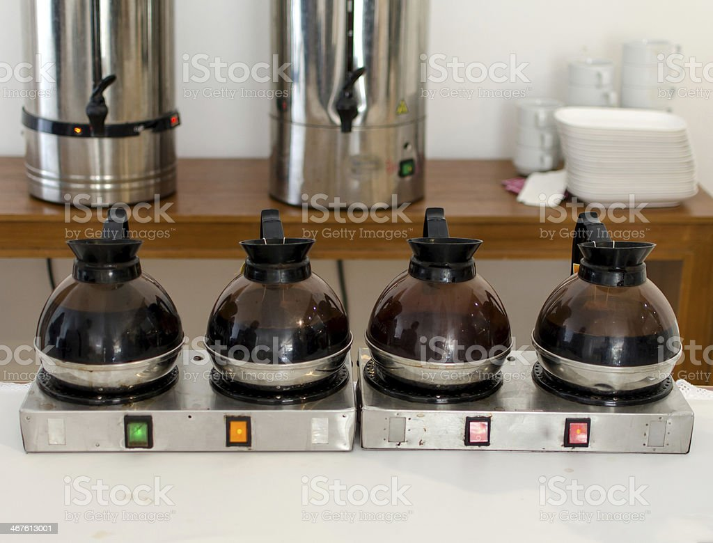 Coffee or tea in kettle boiler pot for conference break royalty-free stock photo