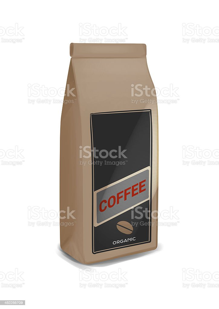 Coffee pack illustration, front view of one brown paper bag. stock photo