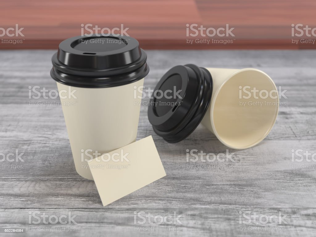 Coffee Paper Cups & business card stock photo