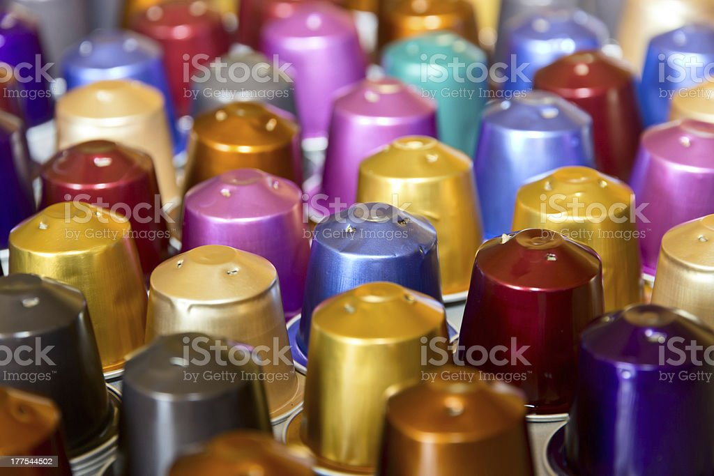 Coffee pods: recycling aluminum for handcraft stock photo