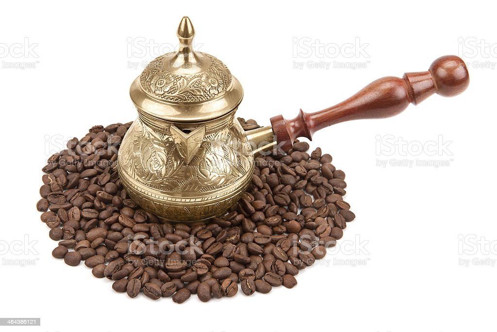 coffee pot and beans royalty-free stock photo