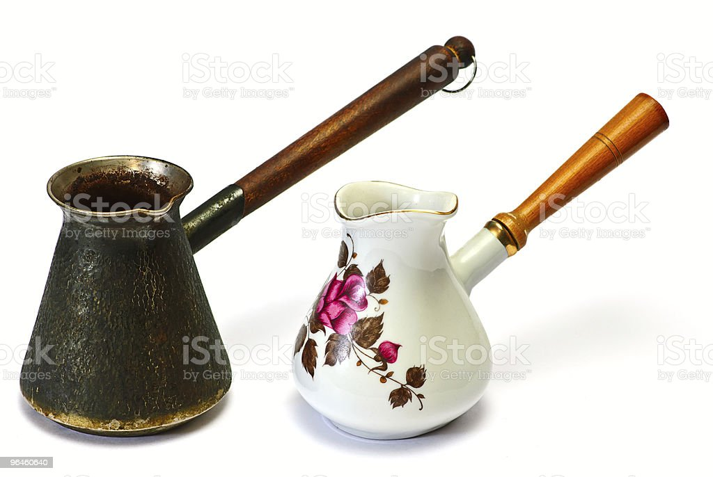 coffee pot brass and porcelan stock photo