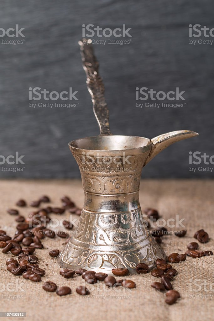 coffee pot turk and  coffee beans stock photo