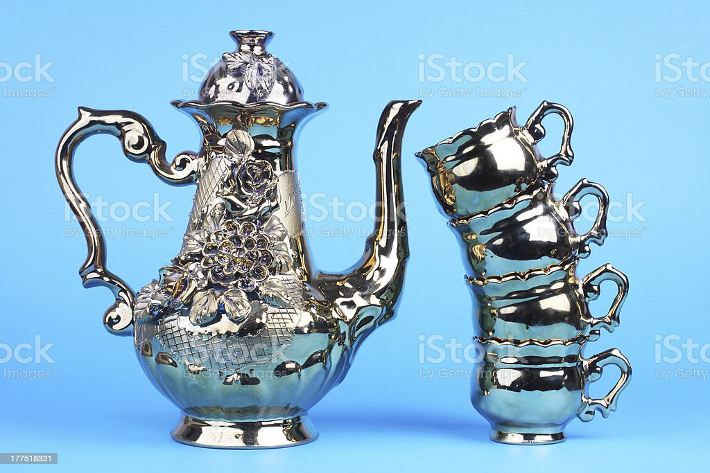 Coffee pot with cups royalty-free stock photo