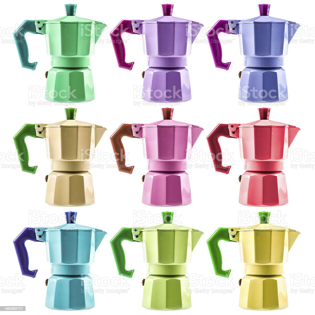 Coffee pots collection stock photo