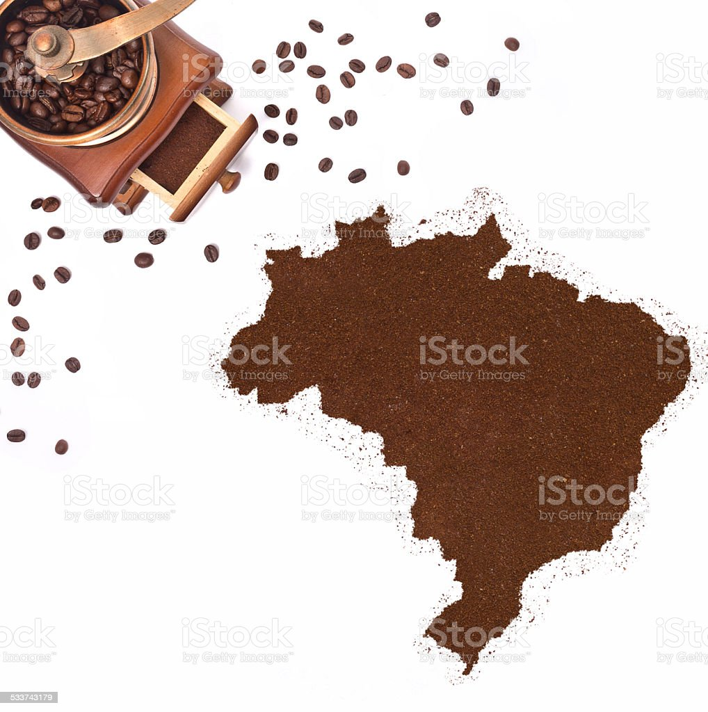Coffee powder in the shape of Brazil.(series) stock photo