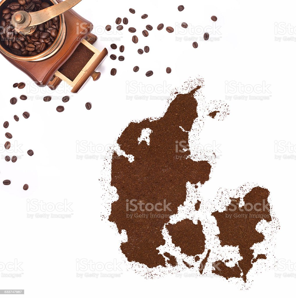 Coffee powder in the shape of Denmark.(series) stock photo