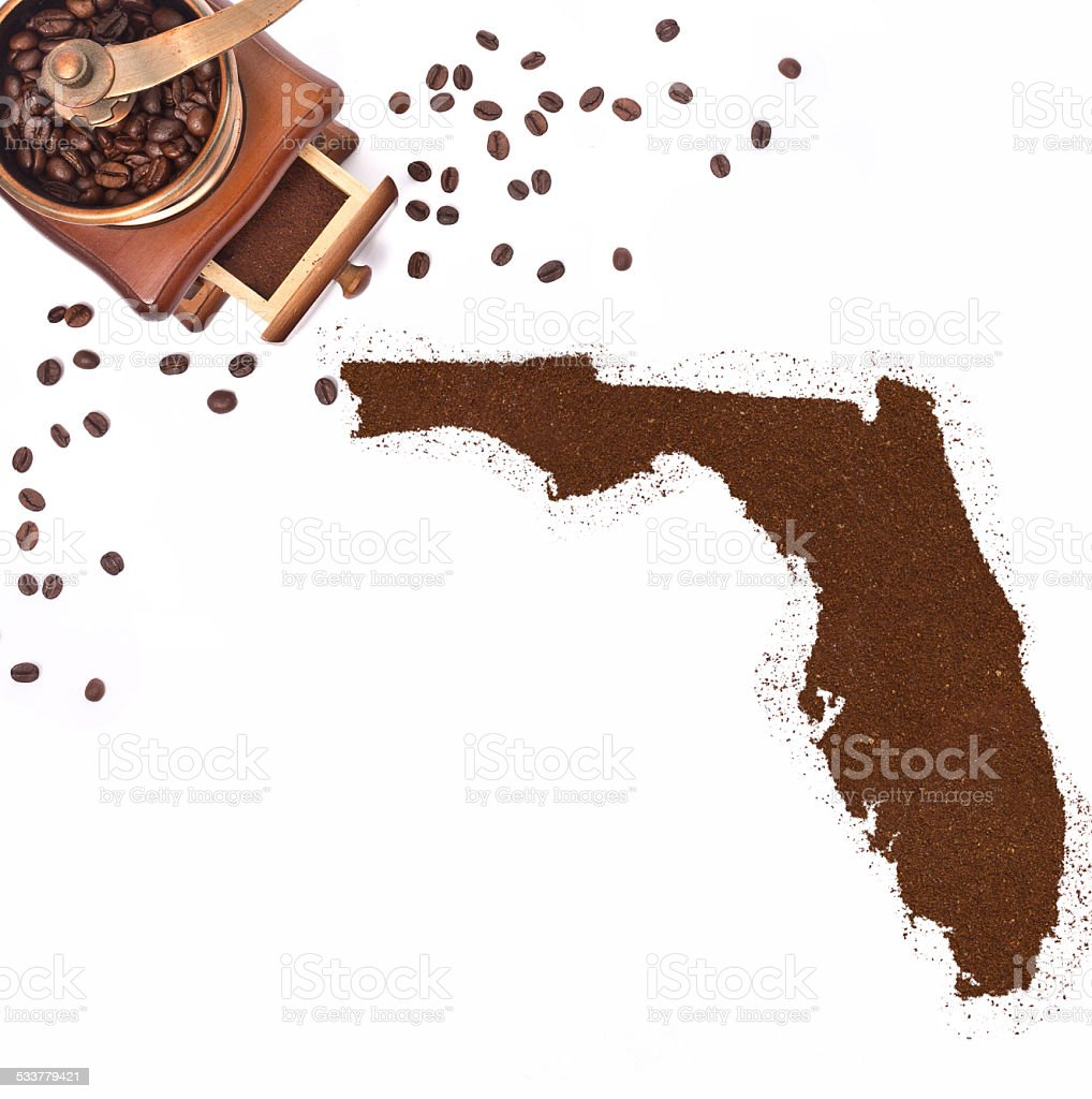 Coffee powder in the shape of Florida.(series) stock photo