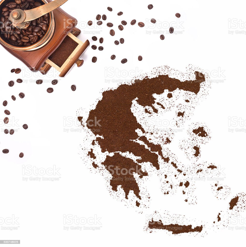 Coffee powder in the shape of Greece.(series) stock photo