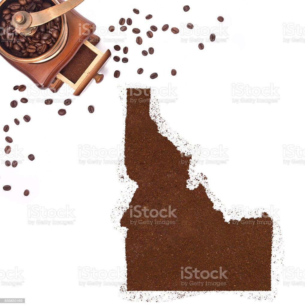 Coffee powder in the shape of Idaho.(series) stock photo