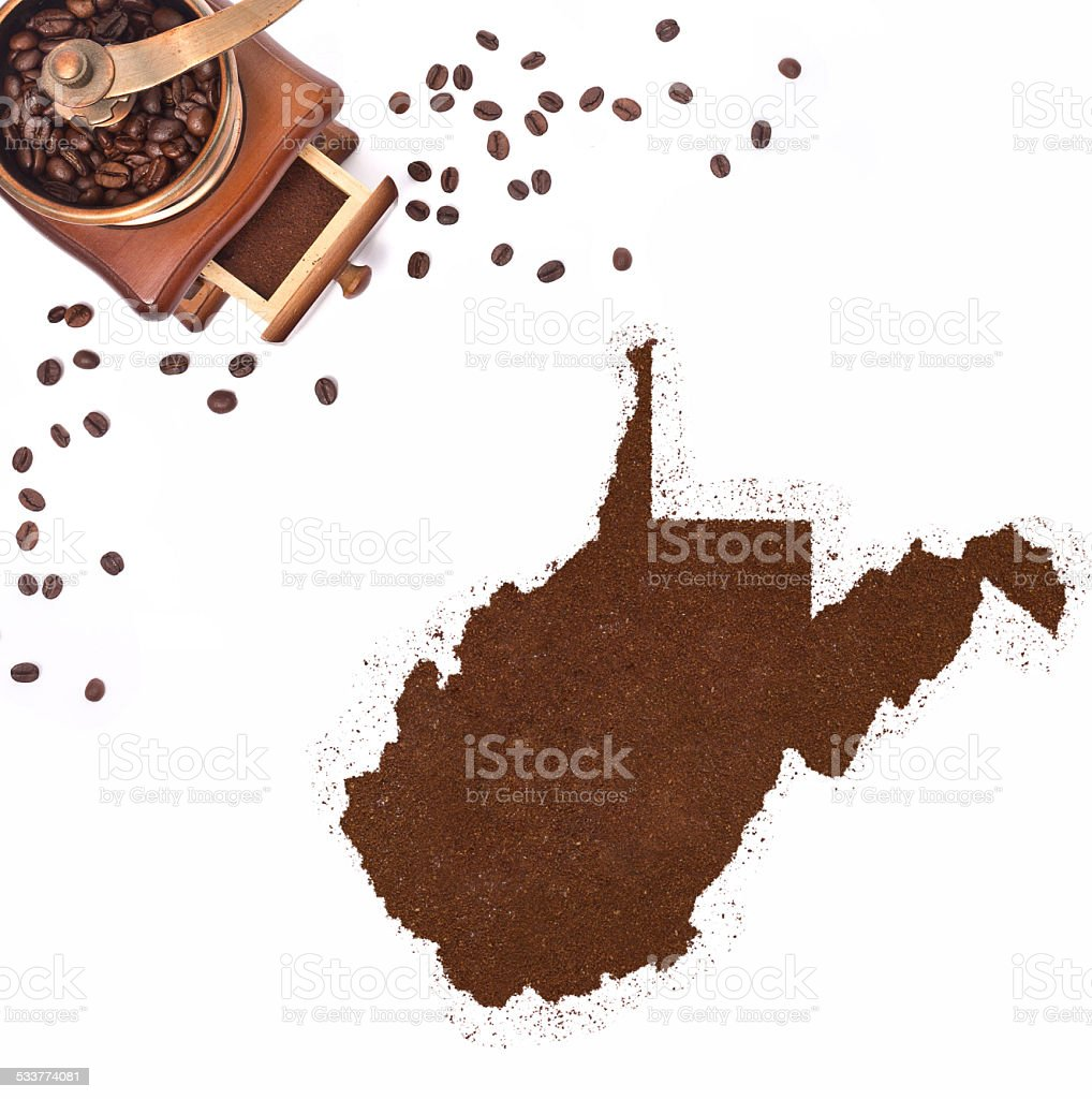 Coffee powder in the shape of West Virginia.(series) stock photo