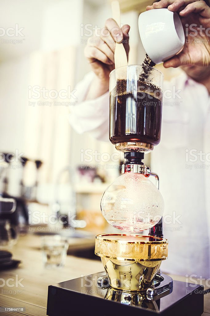 Coffee Preparation with Vacuum Pot stock photo