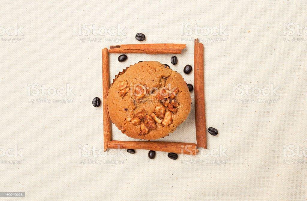 Coffee raisin muffin stock photo