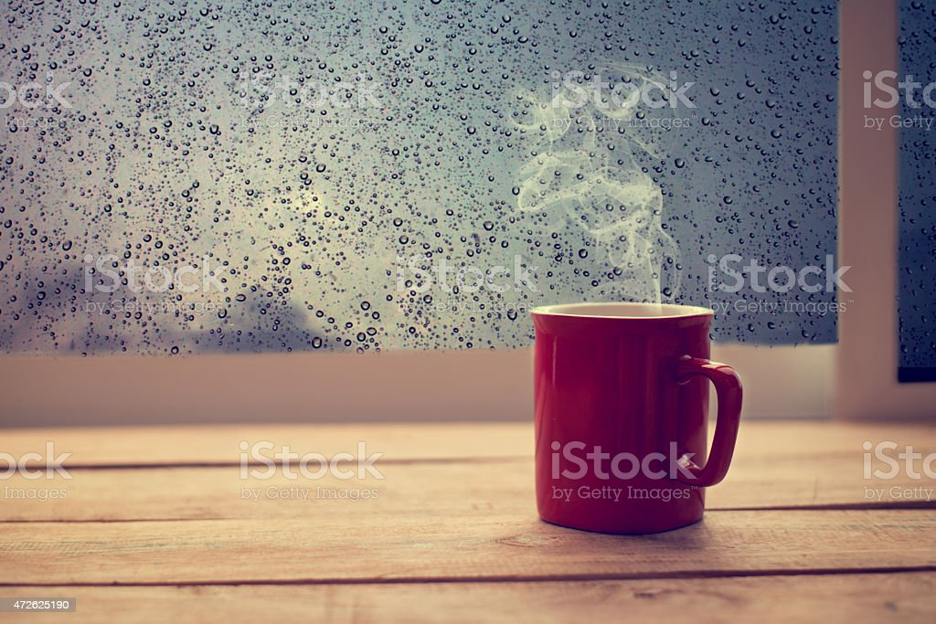 coffee red cup on wood table stock photo