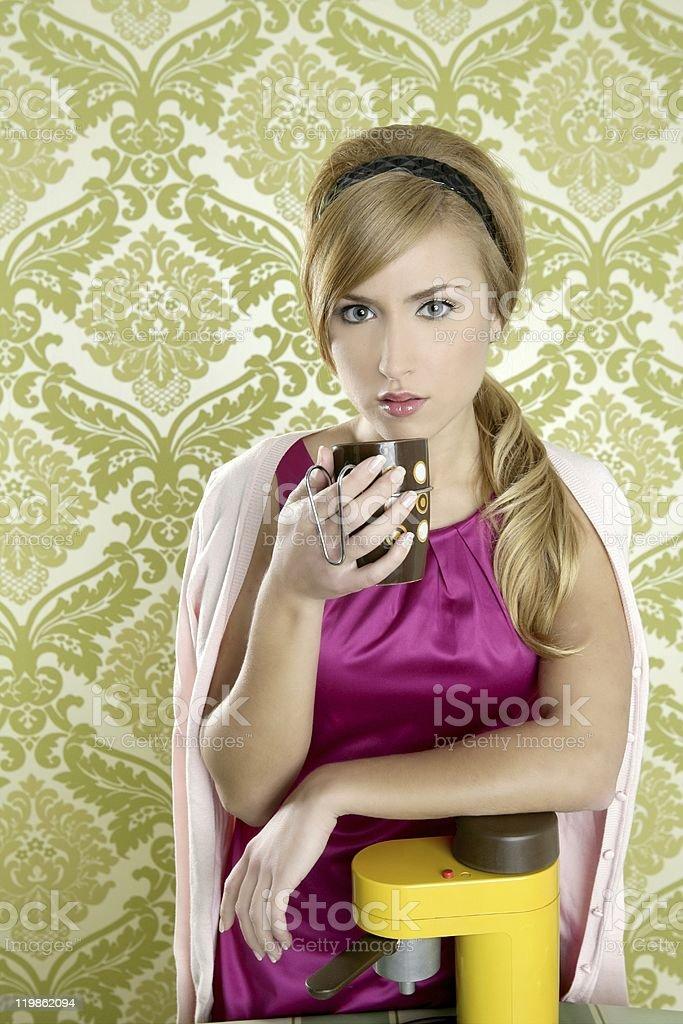 coffee retro woman vintage cup kitchen royalty-free stock photo